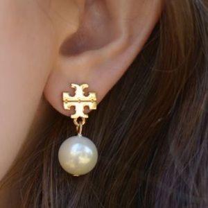 Tory Burch Faux Pearl Gold Logo Earrings Nordstrom
